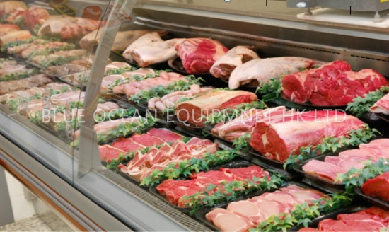 Supermarket Commercial Refrigeration Equipment Glass Display Cabinet
